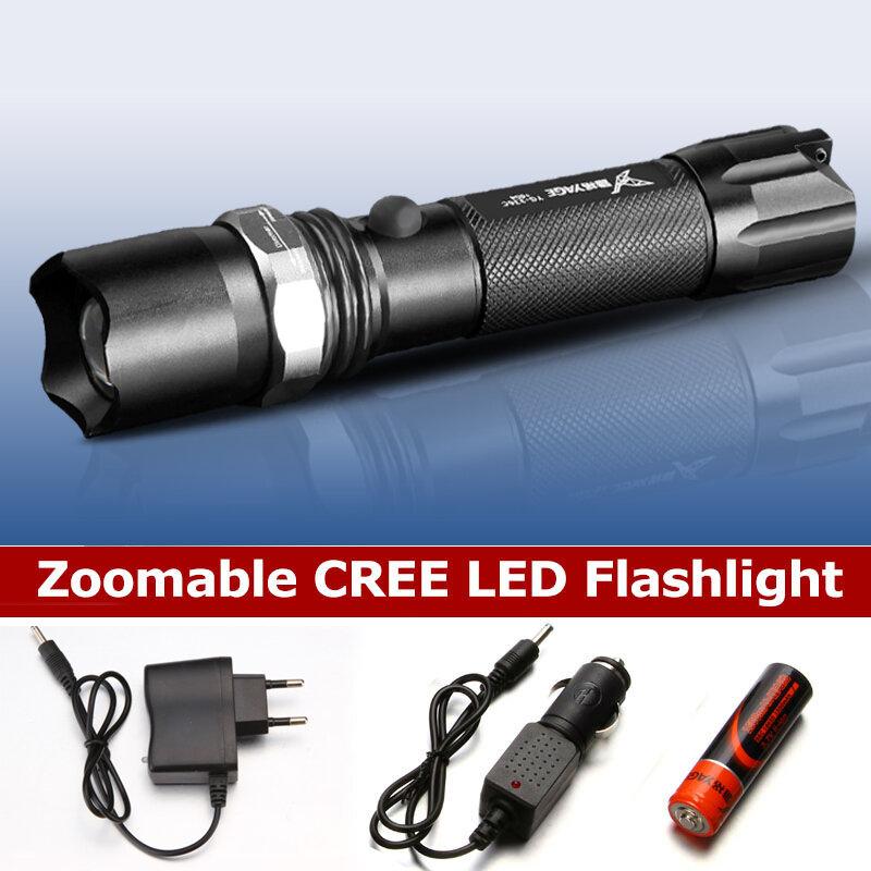 Lampe de poche tactique étanche, 1800mAh, 18650, Rechargeable, Cree XP-E, lampe de poche LED, lanterne tactile, tête de Lotus, métal