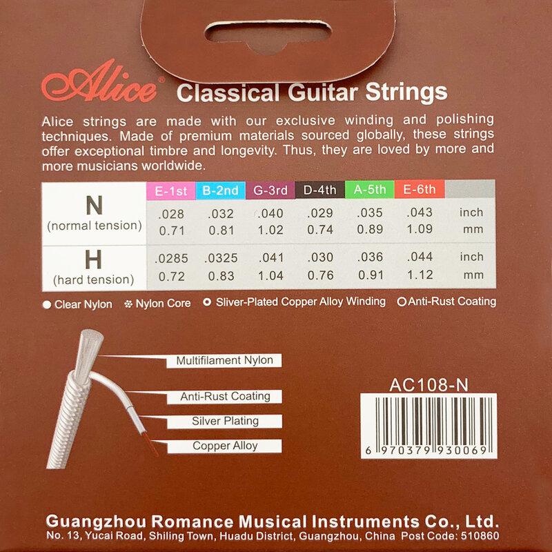 ชุดสายกีตาร์คลาสสิก 6-Stringกีตาร์คลาสสิกสายไนล่อนเงินชุบทองแดง-Alice A108