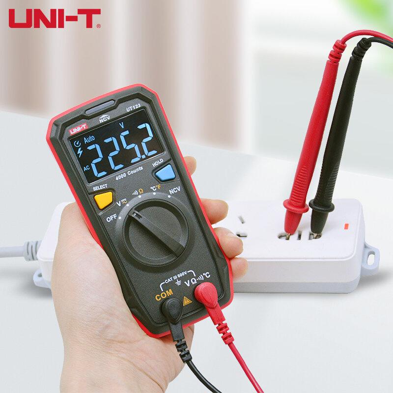 UNI-T البسيطة UT123D المحمولة رقمي متعدد المنزلية جيب حجم متعددة اختبار AC DC NCV الجهد المقاوم التبديل قياس