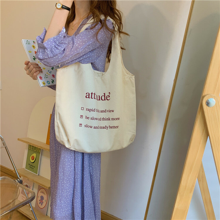 Bolso grande de lona para mujer, bolsa de compras con estampado de letras, 2020 algodón