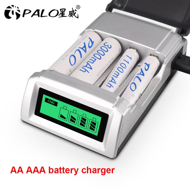 PALO-شاحن بطارية ذكي 1.2 فولت ، 4 فتحات ، شاشة LCD ، AA ، 1.2 فولت ، AA ، NiCd ، NiMh ، بطاريات قابلة لإعادة الشحن