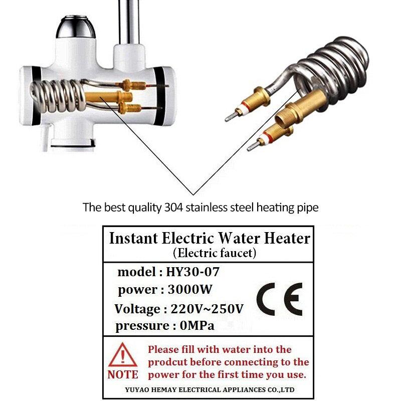 Robinet chauffe-eau instantané sans réservoir, électrique, pour cuisine et salle de bain, puissance 3000W, avec affichage de la température