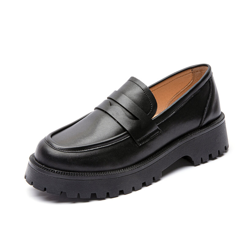 AIYUQI Spring Shoes Female British Style 2021 New Thick-soled College Style Casual Loafers Genuine Leather Fashion Shoes Girls