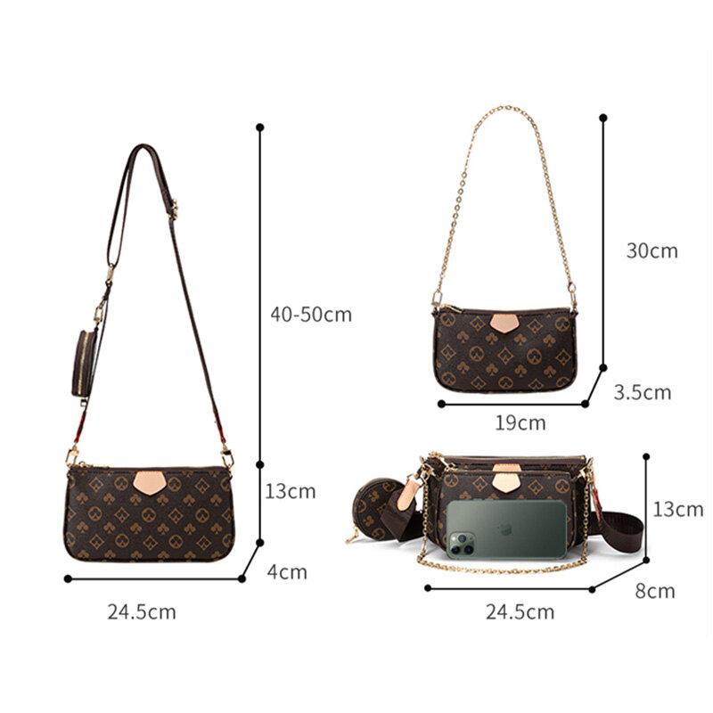 Bolso de diseñador 3 en 1 para mujer, bandolera con estampado de cuero, bolso de mano, Nuevo Bolso de Hombro