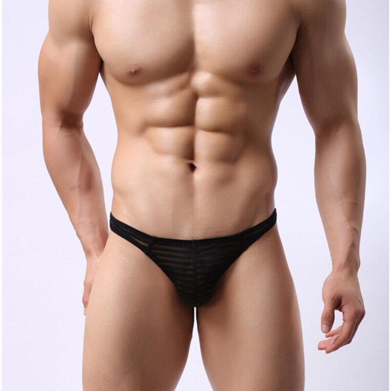 Bielizna męska t-back stringi niski wzrost majtki Sexy oddychający przezroczysty pasek Ultra cienki Penis seksowna bielizna stringi