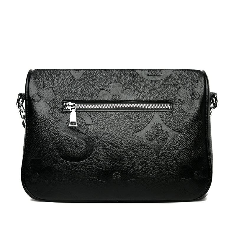 Genuine Embossing Leather Crossbody Bags Women 100% cowhide Female Shoulder Bag Fashion Wide Shoulder Strap Soft large Women Bag