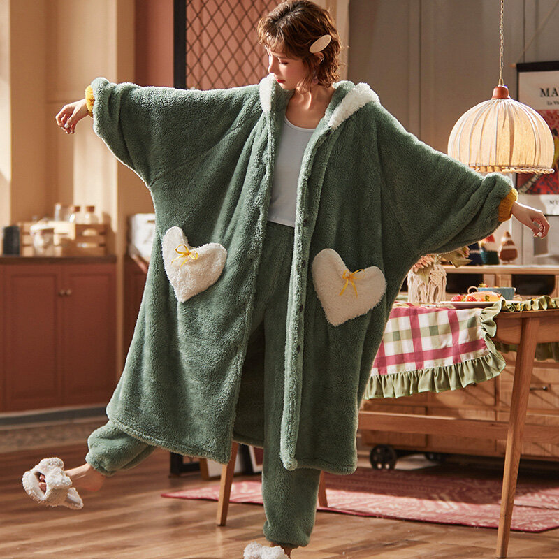 Long Robe Women's Autumn and Winter Rabbit Ears Thick Coral Fleece Pajamas Trousers Suit Flannel Nightdress Homewear