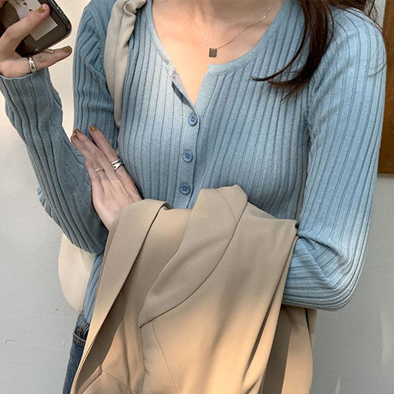 CMAZWomen's Korean-Style Chic Autumn Crew Neck Cardigan Sweater