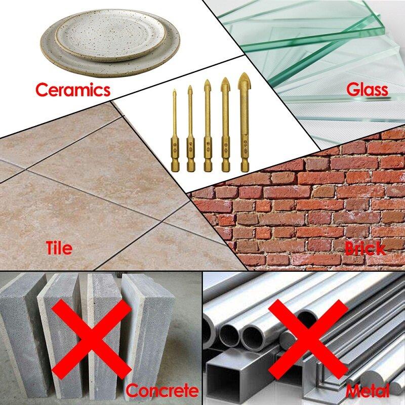 """TASP 5 stücke Glas Bohrer Set Hartmetall Keramik Fliesen Cutter 1/4 """"Hex Schaft 3 4 6 8 10mm Power Werkzeuge Zubehör"""