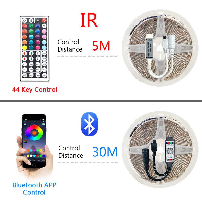 Tira de Luces LED con Bluetooth, WIFI, RGB 5050, iluminación exterior, para dormitorio, Alexa, asistente de Google