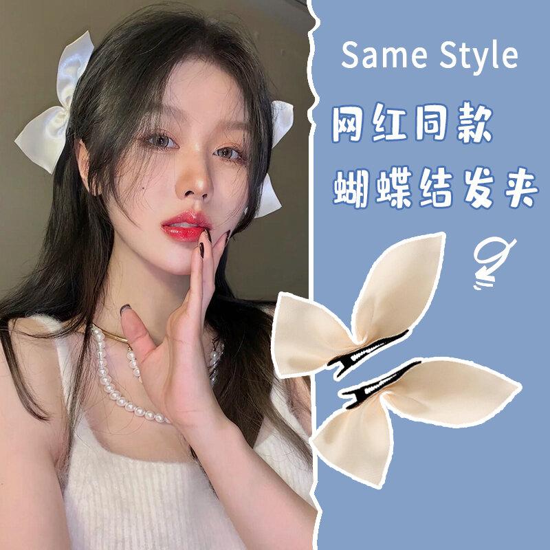 Jisoo Kim Ji-Su Celebrity Inspired Black Velvet Bow Barrettes South Korea Internet Celebrity 2021 nian New Style Hairware