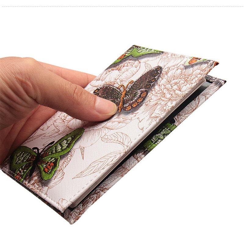 자수 나비 3d 인쇄 여권 커버, 남성 여성 Pu 가죽 여행 여권 홀더 케이스 카드 Id 홀더 지갑