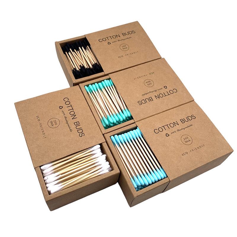 200 Teile/schachtel Doppel Kopf Baumwolle Tupfer Bambus-sticks Baumwolle Tupfer Einweg Knospen Baumwolle Für Schönheit Make-Up Nase Ohren Reinigung