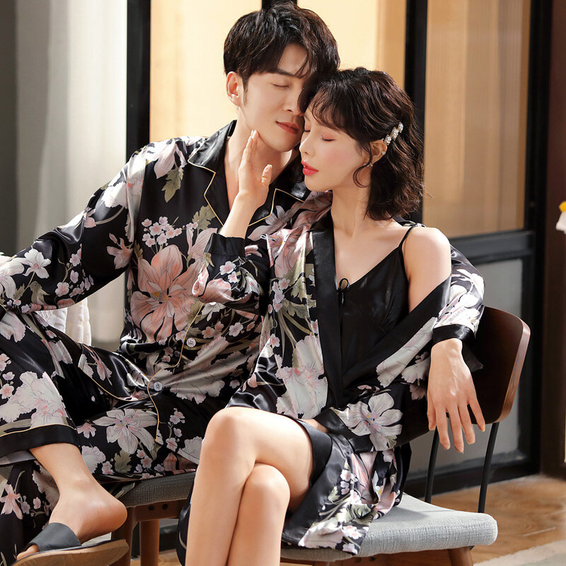 2021 New Couple Pajamas Women's Spring and Autumn Thin Ice Silk Home Wear Japanese Men's Silk Nightgown Suit Skirt