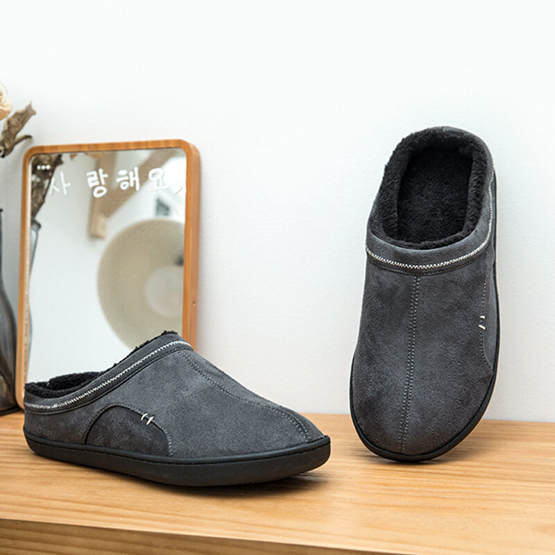 BOREE – pantoufles de maison classiques pour hommes, en daim, courtes en peluche, antidérapantes, pour chambre à coucher, chaussures d'intérieur souples pour hommes