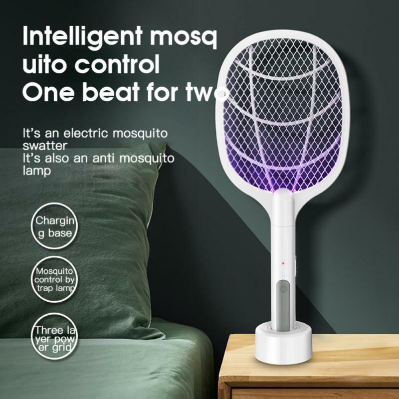 2021 heißer Verkauf Elektrische Moskito-killer Elektrische Moskito-klatsche 2 In 1 Sommer Fliegen Klatsche Falle Fliegen Insekten Mörder Pest control