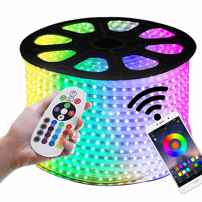 Tira de luces LED RGB GD de 16-50M, 60LED/M 5050 220V, cinta de luz LED cambiable por Color, IP67, impermeable cuerda de luz LED + mando a distancia