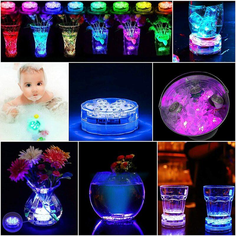 2021 업그레이드 13 Led 원격 제어 RGB 잠수정 Led 조명 배터리 작동 수중 야간 램프 야외 꽃병 그릇 정원
