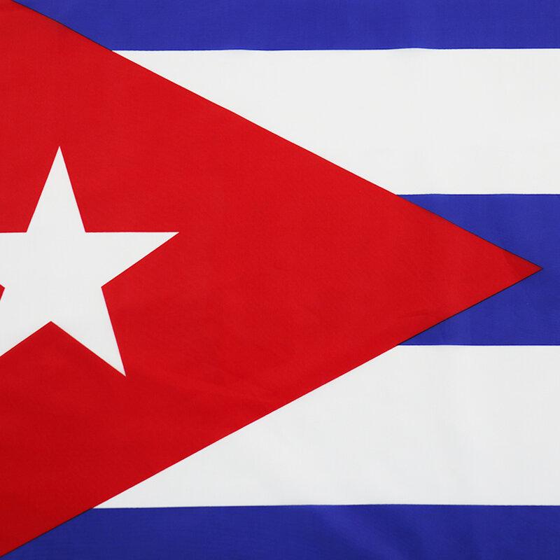 سارية العلم كوبا العلم قطعة واحدة 3X5 قدم معلقة البوليستر أعلام وطنية الكوبية مع الحلقات النحاسية