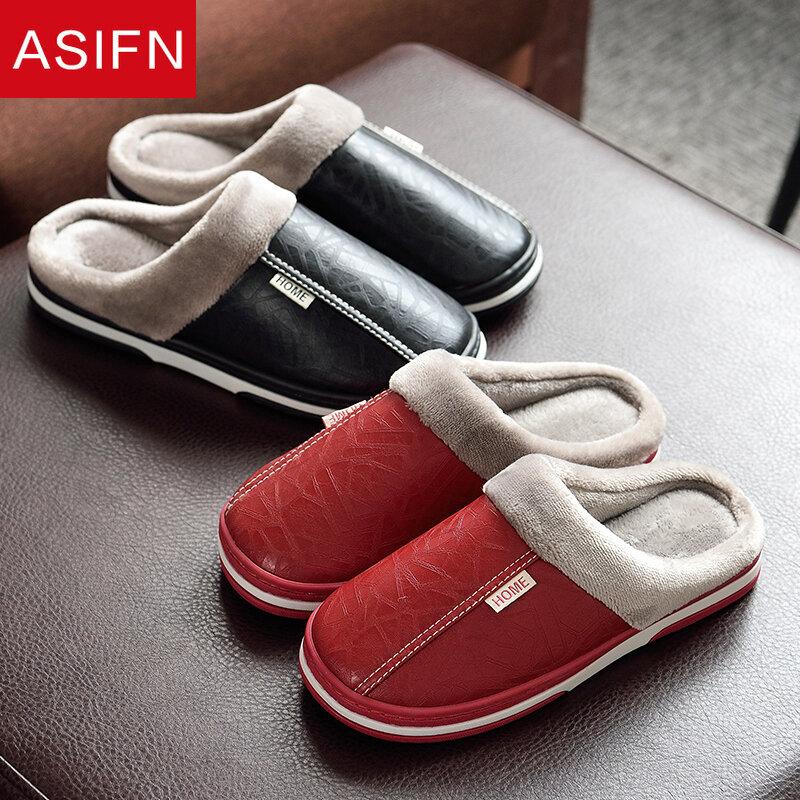 ASIFN – pantoufles d'intérieur en cuir pour hommes, chaussures d'hiver imperméables et chaudes, fourrure pour la maison, chaussures à plateforme pour Couple, grandes tailles