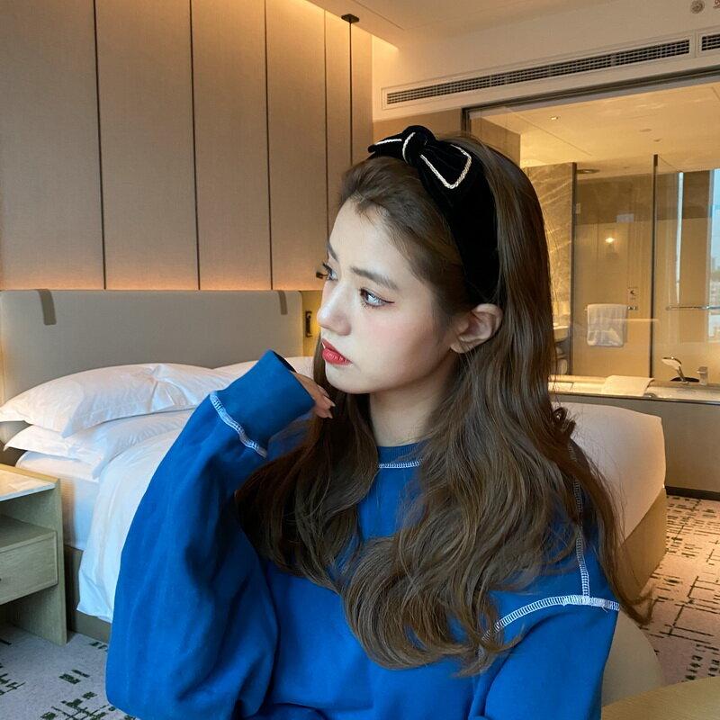 Velvet Simple Graceful Vintage Bow Internet-Famous Headband Hair Band/Clip Girl Ins Korean Headband Hair Fixer