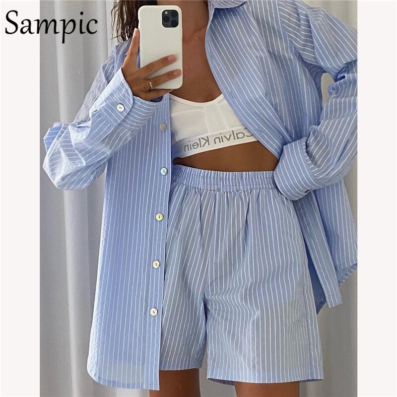 Sampic Loung Wear Tracksuit Women Shorts Set Stripe Long Sleeve Shirt Tops And Loose High Waisted Mini Shorts Two Piece Set 2021