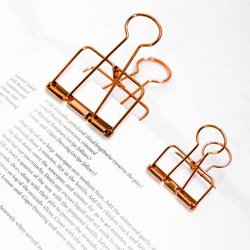 1 pz carino Kawaii foto decorativo metallo qualità raccoglitore clip di carta scrivania accessori per ufficio materiale scolastico oro nero rosa