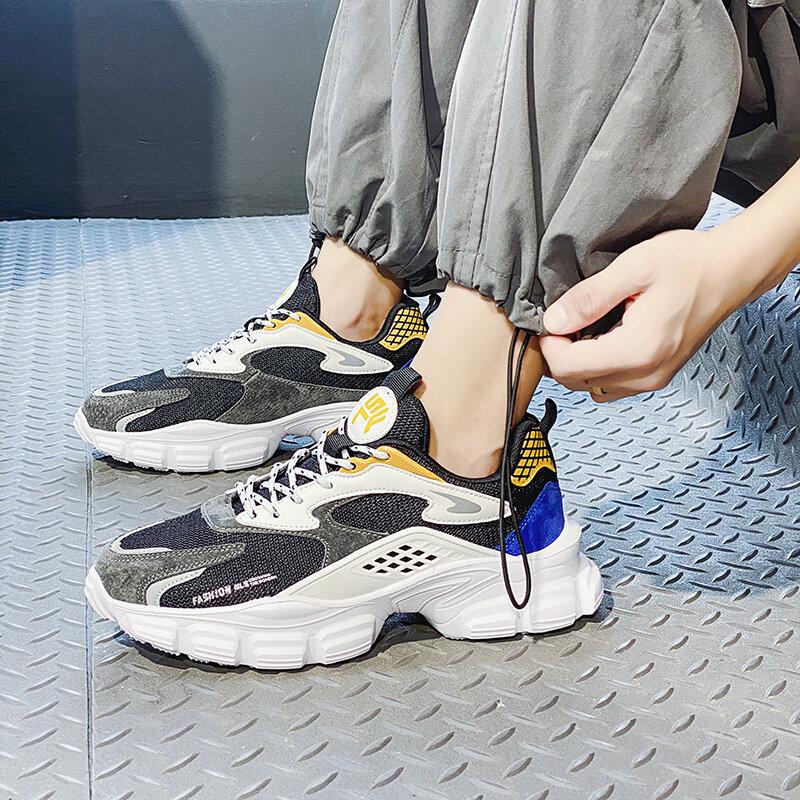 Zapatillas De Deporte De Malla Transpirable Para Hombre Calzado Ligero Para Correr Al Aire Libre Tendencia Para Fitness Trotar Zapatos De Suela Gruesa De Goma Otoño Bestdealplus