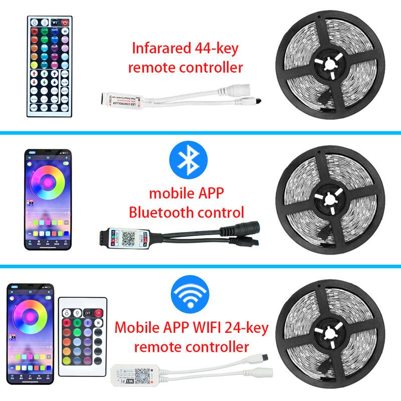 Strisce LED nastro flessibile RGB 5050 SMD2835 diodo a nastro impermeabile 15M 20M DC12V telecomando Bluetooth WIFI telefono APP controllo IR