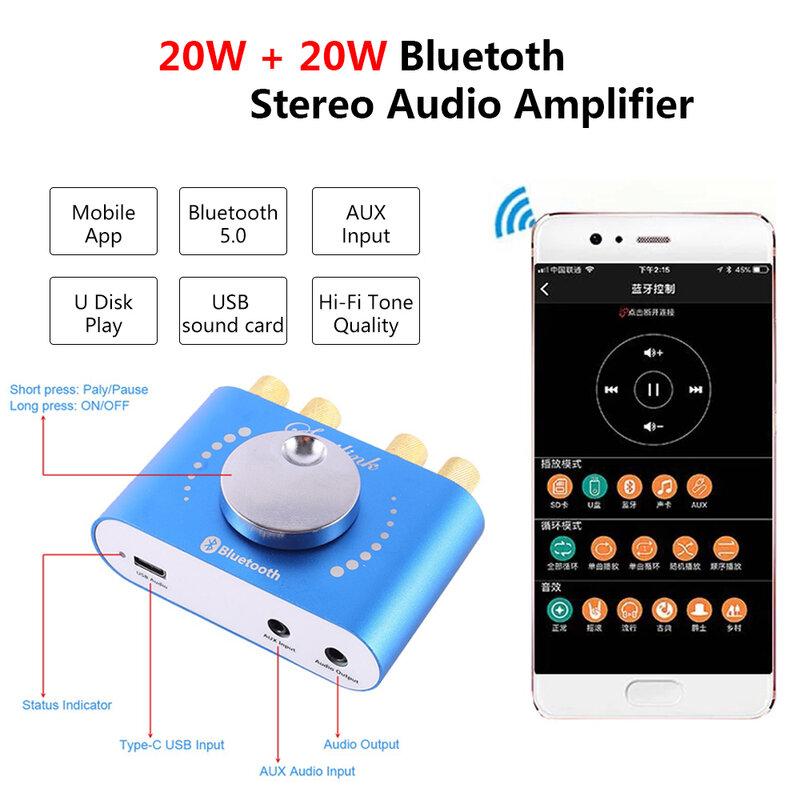 بلوتوث 5.0 20 واط * 2 مكبر كهربائي رقمي مجلس 2 قناة فئة D الصوت ستيريو التعادل مكبر الصوت أمبير AUX USB APP التحكم