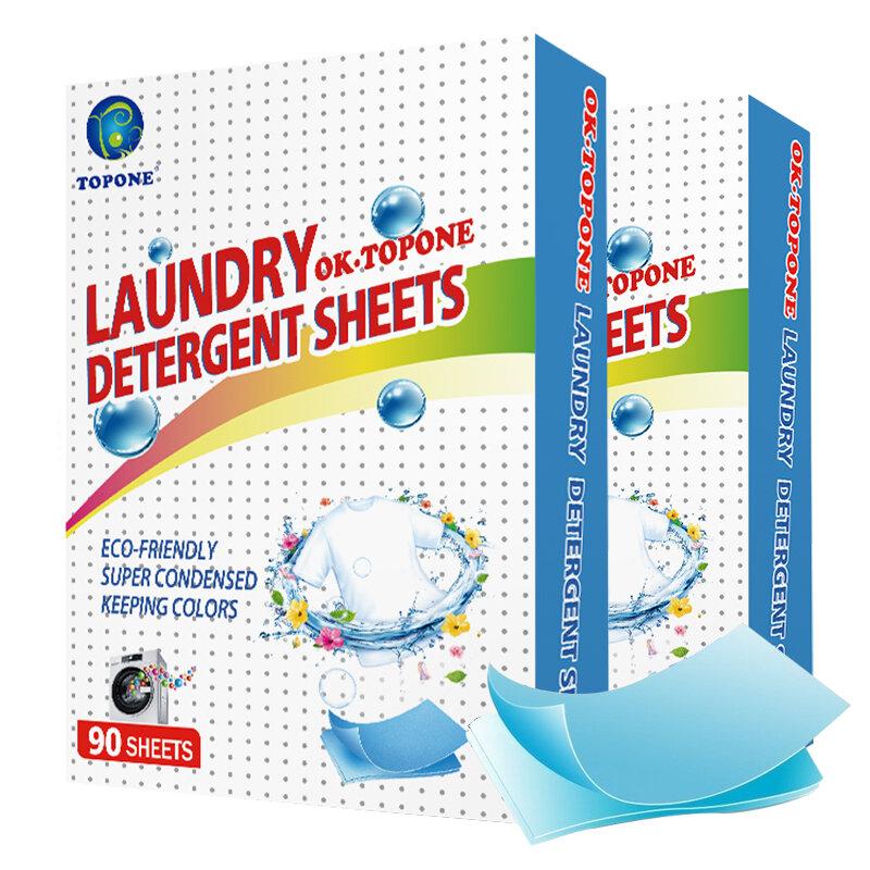 180PCS 세탁 세제 자연 세탁 정제 세척 분말 홈 청소 제품 공급 워시 종이 시트 새로운 수식
