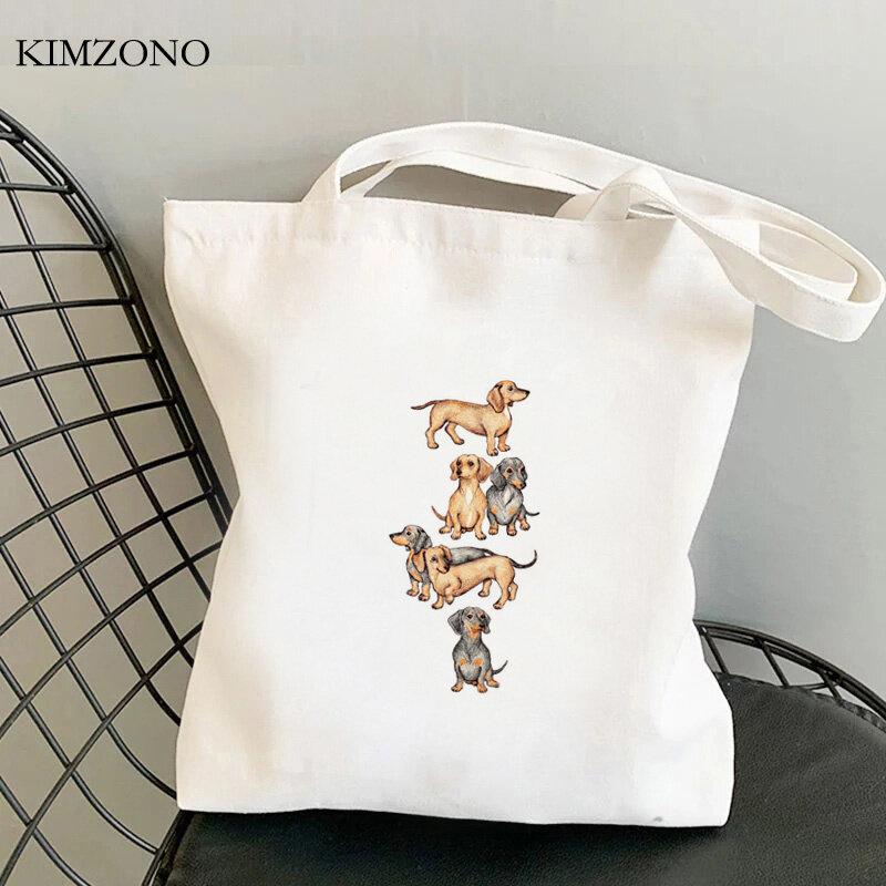 프랑스 불독 재사용 가능한 면 핸드백 재활용 가방, 쇼핑 가방, 황마 가방, 재활용 접이식 그물 주머니 tissu