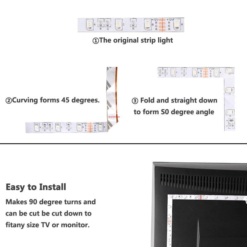 DC 5V USB LED tira RGB 5V PC TV de luz 2835 SMD 50CM 1M 2M 3M 4M 5M 5V tiras de luz LED USB Lámpara RGB cinta Flexible