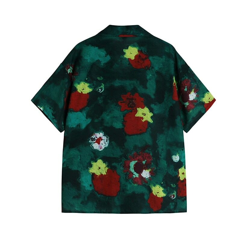 Vintage Tie Dye Print Short Sleeve Women Blouses Harajuku 2021 Summer Fashion Casual Tops Shirts Loose Turn Down Collar Blusas