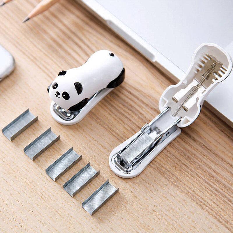 1 Pcs Mini Panda Hefter Set Cartoon Büro Schule Liefert Staionery Papier Clip Bindung Binder Buch Kanalisation
