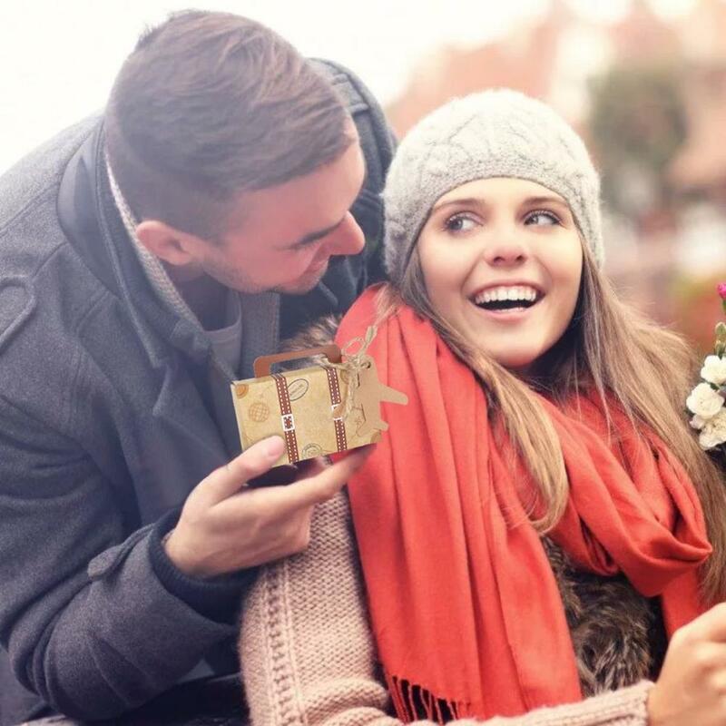 OurWarm-boîtes cadeaux en papier kraft 10 pièces, sacs couronne cœur à offrir aux invités, décoration pour anniversaire mariage fête prénatale