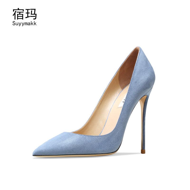 Prawdziwej skóry zamszowe buty na wysokim obcasie dla kobiet 2021 wskazał palce seksowne obuwie ślubne czarny Classics pompy obuwie damskie 6/8/10CM