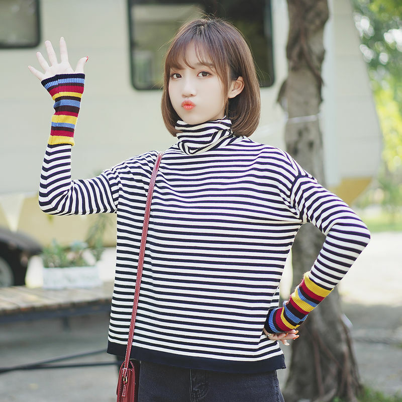 Chic Khaki Autumn and Winter 2020 New Heaps Collar Sweater Women's Striped Color Matching Sweater Thickened Inner Wear Bottoming