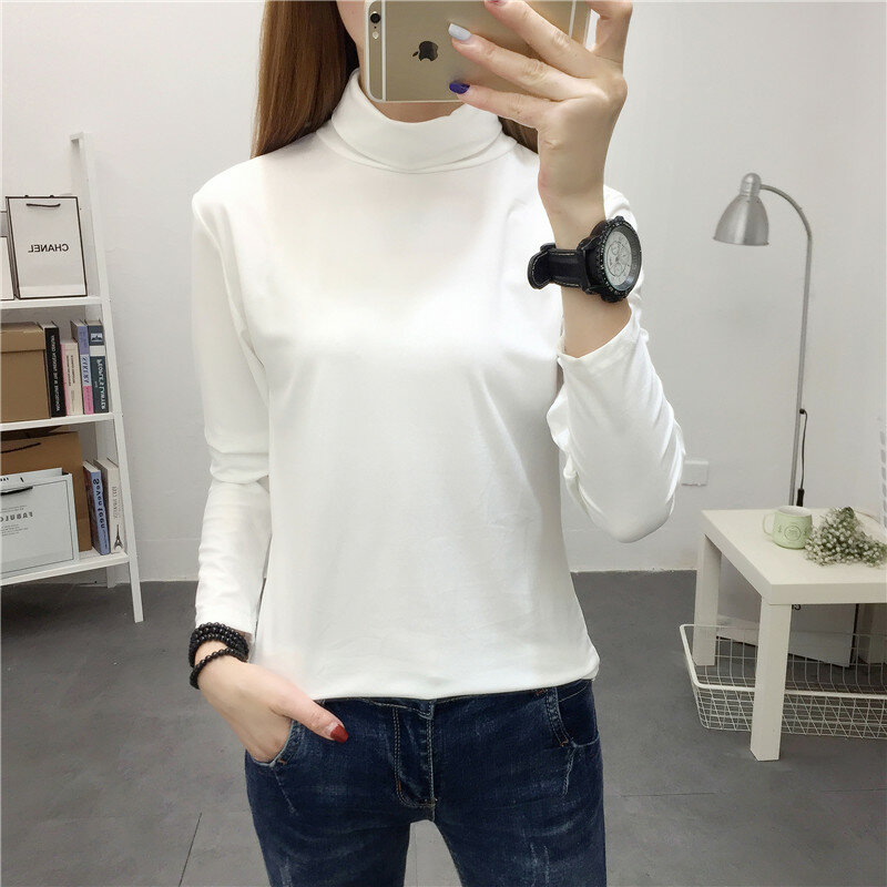 Turtleneck Base Small Shirt Women's Autumn and Winter Long Sleeve 2021 New Korean Style Students Top Clothes All-Matching Hong