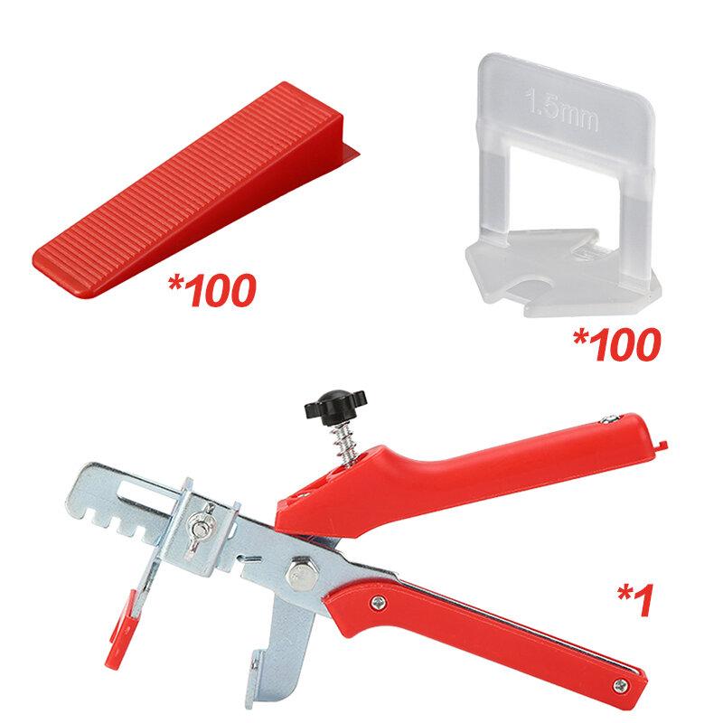 Sistema de nivelación de azulejos, herramientas de mosaico, 1mm/201mm/2mm/1,5mm/3mm, 2,5 Uds. clips + 100 Uds. Cuñas + 1 ud. Alicates, espaciadores de azulejos de plástico, 100 Uds.