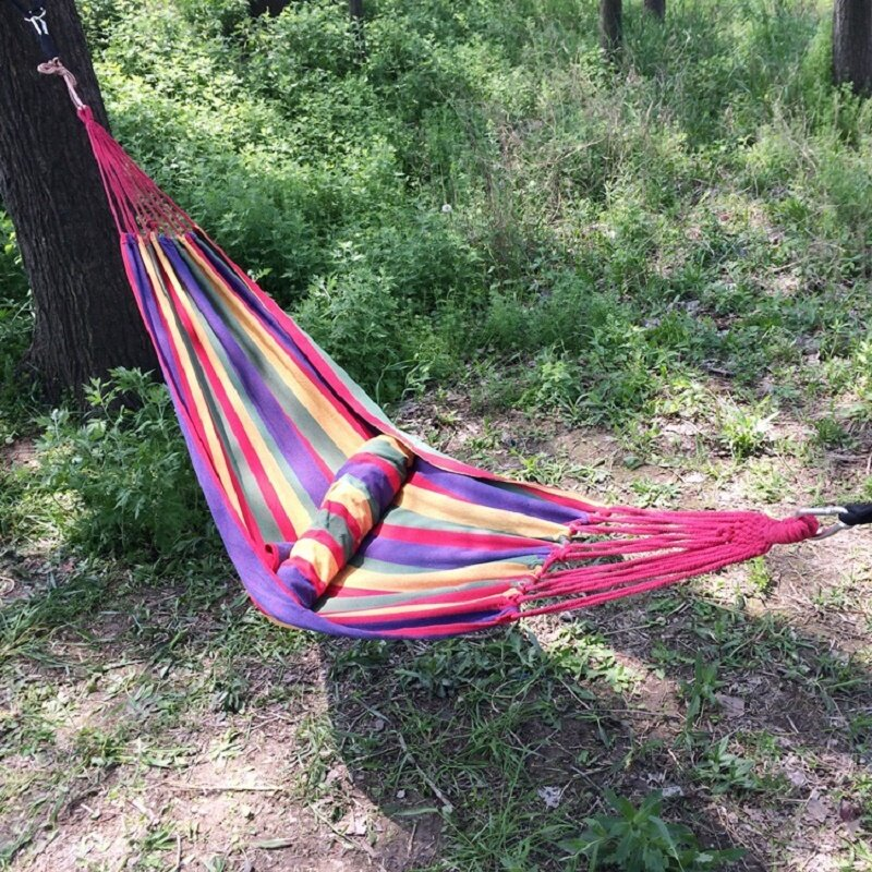 Hamaca portátil para exteriores, cama colgante de viaje, Camping, lona a rayas, envío gratis