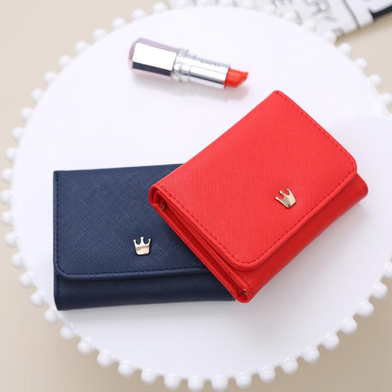 여자 지갑 지갑 격자 무늬 PU 가죽 크라운 긴/짧은 지갑 Hasp 전화 가방 돈 동전 주머니 홀더 여성 지갑 지갑