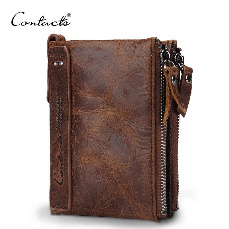 CONTACT'S HEIßER Echte Crazy Horse Rindsleder Männer Brieftasche Kurze Geldbörse Kleine Vintage Geldbörsen Marke Hohe Qualität Designer