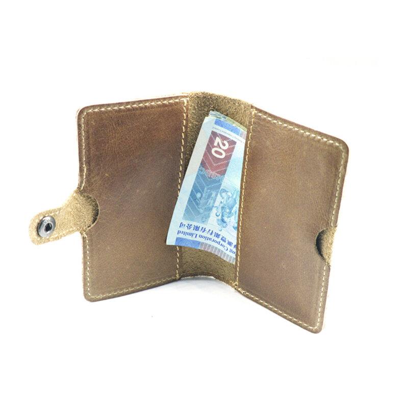 슬림 지갑 남성 가죽 카드 홀더 동전 파우치 브라운 파우치 가방 포켓 돈 가방 남성 여성 mone dero Mujer NR180