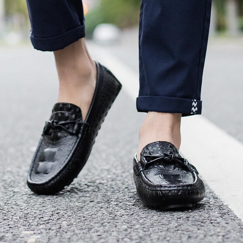 Zapatos mocasín informales de piel auténtica para hombre, mocasines suaves para conducción, para exteriores