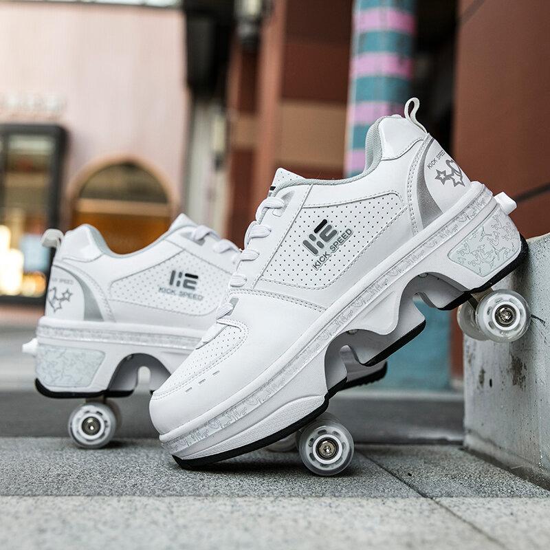Chaussures de Parkour à quatre roues de déformation, souliers de course à roulettes unisexes pour adultes et enfants