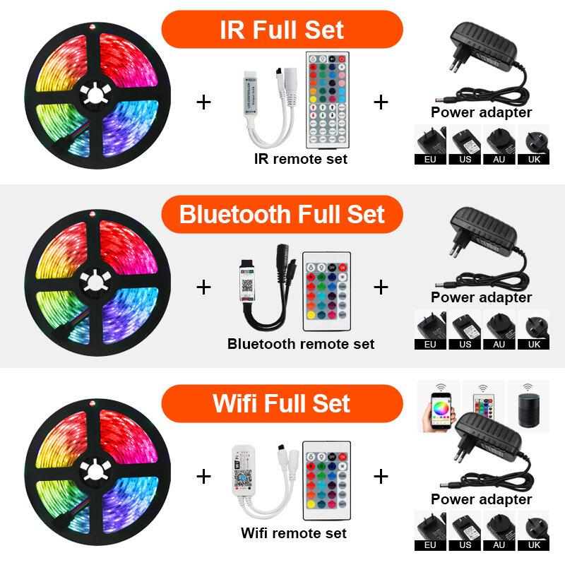 RGB tira de LED de 12V Luces Bluetooth WiFi Luces Led DC 5050 SMD2835 Flexible impermeable cinta de luz con Control remoto para la habitación