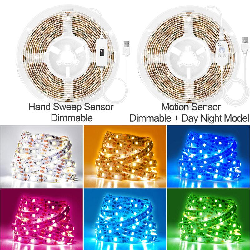 모션 센서 LED 라이트 스트립 핸드 스윕 센서 조광 가능 테이프 다이오드 3M/4M/5M DC 5V USB SMD 2835 60LEDs/M 주방 캐비닛 램프, 모션 센서 조명
