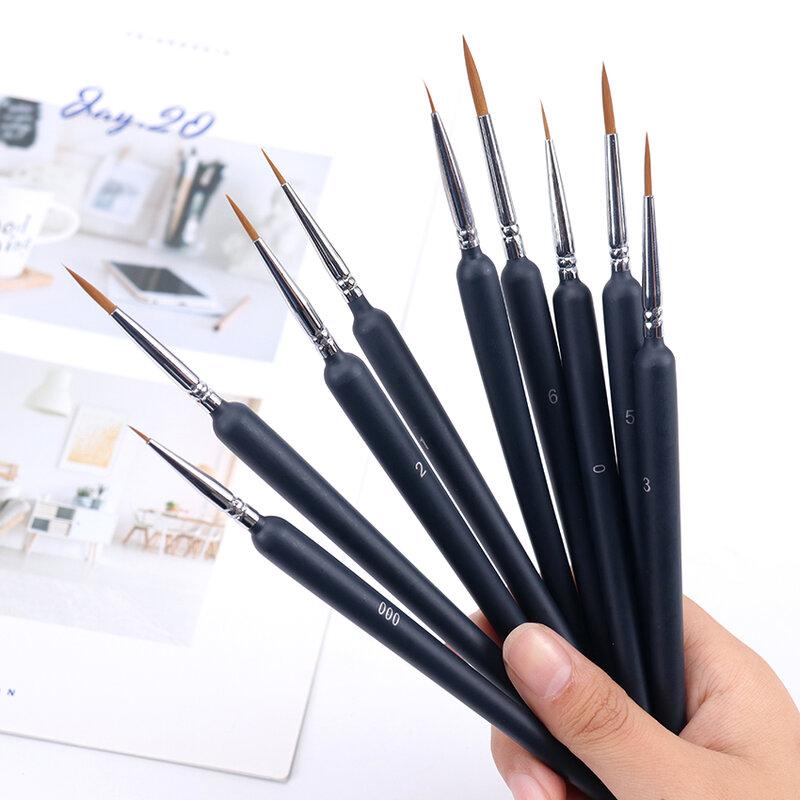 Juego de pinceles de pintura para artistas principiantes, plumas de línea con gancho para el pelo y la cola de Lobo, pincel para el pelo, acuarela, pintura al óleo, 9 unids/set