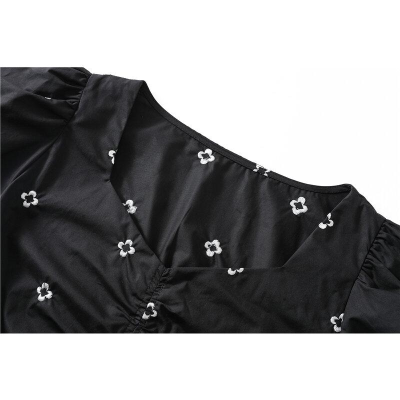 Camisa de manga corta de estilo coreano elegante para mujer, ropa femenina de diseño plisado con cintura estrecha, bordado Floral, con temperamento, novedad de verano 2021
